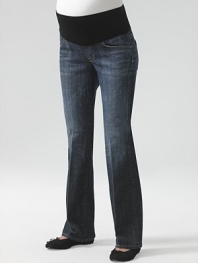 Stretch cotton five-pocket jeans have a comfy elastic waistband to take you through all nine months in style.THE FITStretchy panel at waist Standard bootcut proportion Front rise, about 12 Back rise, about 14 Inseam, about 34THE DETAILSFaux fly Rivet detail Faded down center legs Signature stitching on back pockets Distressed Pacific Ocean wash Nylon/spandex belly panelCotton/polyurethane denim Machine wash Made in USA
