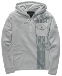 Sport meets street. This casual Calvin Klein hoodie brings a laid-back vibe to your casual wear.