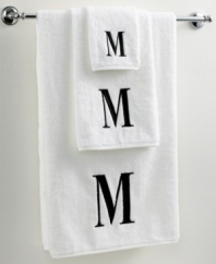 Dry off in your signature style with monogrammed towels from Avanti. Embroidered with a single capital letter in Bodoni font, this combed cotton bath towel makes it easy to personalize your bath.