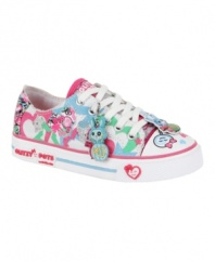 What a character! She'll love being able to show off her fun graphic print Pet shoes from Stride Rite anywhere she goes.