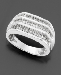This handsome ring is gleaming with good cheer and three rows of round-cut diamonds (1 ct. t.w.). Set in 14k white gold.