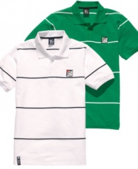 With a simple stripe, this LRG polo shirt is the perfect weekend piece -- just add jeans and you're good to go.