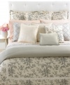 A detailed toile print of cherry blossoms and branches cascades over a sumptuous cream ground in the Saint Honore duvet cover. Streamlined piping and a frame of grosgrain ribbon finishes this traditional look with a touch of modern romance. Reverses to a subtle houndstooth print for an impressive transformation in style.