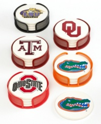 Say cheers and cheer on your alma mater with Thirstystone Collegiate drink coasters. This smart design soaks up spills and condensation to keep your table ring- and drip-free at football parties, reunions and more.