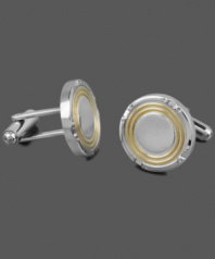 Stylish sophistication. The perfect final touch to your favorite work shirt, these versatile cuff links combine stainless steel and yellow ion-plated stainless steel in a chic circular design. Approximate diameter: 3/4 inch.