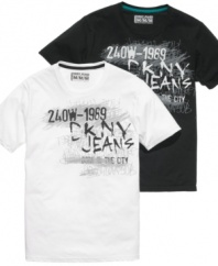 Chalk this up to simple cool. These t-shirts from DKNY will be the perfect complement to your denim style.