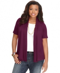 For on-trend style, layer your tanks with ING's short sleeve plus size cardigan.