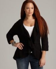 Layer your tanks and tees with Style&co.'s three-quarter sleeve plus size cardigan, highlighted by a ruffled front.