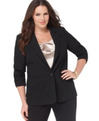 Top off your professional looks with MICHAEL Michael Kors' one-button plus size jacket, accented by ruched cuffs.