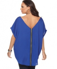 Make a dramatic exit with L8ter's short sleeve plus size top, featuring an exposed zipper.