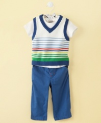 Savvy in stripes. This stylish tee shirt, sweater vest and pant set from First Impressions is a simple way to keep him comfortable and looking great.
