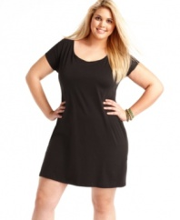 Look amazing from all angles with L8ter's short sleeve plus size dress, showcasing a low back.