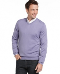 A classic v-neck sweater from Izod is the perfect layering item for the season. (Clearance)