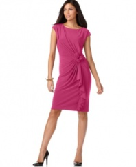 Step out in style with this flirty Jones New York dress featuring crafted rosettes and a cascading draped ruffle.