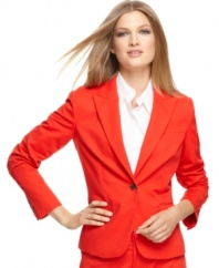 The cure for a case of the workweek wardrobe blues? This bold red petite blazer by Calvin Klein.