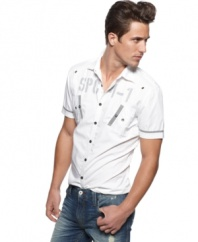 Understate your urban look with this short-sleeved woven shirt from INC.