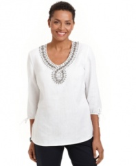 A beaded neckline and stylish drawstring cuffs give this petite top by JM Collection an exotic feel. Pair with denim for a day off or wear to soften the look of crisp black pants.