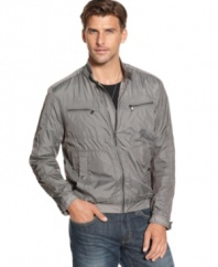 Put some zip on your look with this Kenneth Cole New York nylon jacket.