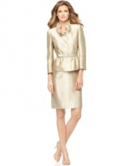 Tahari by ASL's skirt suit features a sumptuous shantung texture and a luxe shimmer throughout. A ruffled neckline is a feminine touch while the belted waist provides definition.
