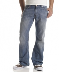 Subtle whiskered details add some edge to these throwback boot cut blues from Levi's.