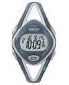 Time your training right with this sleek watch by Timex. Blue resin strap and round case. Digital display dial with INDIGLO, stopwatch and timer. Quartz movement. Water resistant to 100 meters. One-year limited warranty.