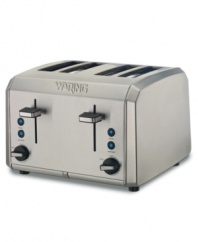 A morning must-have, the Waring toaster helps you rise and shine with its brushed stainless steel housing and extra-wide slots that accommodate bread, bagels, english muffins and other breakfast favorites. Adjustable shade control makes it just the way you like it. One-year limited warranty. Model WT400.