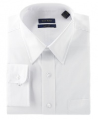 It's the starting line for your style - an elegant white button-down shirt with classic tailoring, a point collar, single button cuff and round hem.