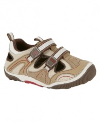 He'll feel like he's walking on sunshine with these comfy Stride Rite shoes made to help decrease falling.