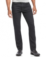 Modernize your denim style with a pair of slim-fitting black jeans from Perry Ellis.
