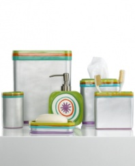 Jazz it up! Stainless steel trimmed with a colorful stripe motif gives this All That Jazz toothbrush holder a fun and carefree appeal that's full of flair.