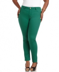 Score one of the season's ultra-hot trends with Fire's skinny plus size jeans, finished by colored washes!