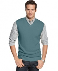 Add an extra dimension to your seasonal style with this V-neck sweater vest from Geoffrey Beene.