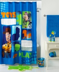 To bath time and beyond! This peek-a-boo shower curtain stars Buzz, Woody and silhouettes of your favorite Disney Toy Story characters. Featuring easy-care polyester microfiber with two clear vinyl cut-outs.