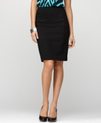 Smooth your shape with Style&co.'s pleated-back pencil skirt. The tummy control panel and comfort-fit elastic waistband give you control where you want it!