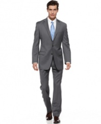 Make your power move with this classic-fit gray striped suit from Lauren by Ralph Lauren.