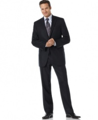 An impressive suit for the impressive man. Two-button jacket features notched lapel, two front flap pockets, two inside slit pockets and four button cuff detail. Pleated pant has back slit pockets, single back vent.