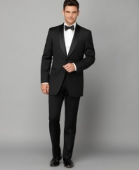 Channel Bogart in this classic, sophisticated tuxedo jacket from Tommy Hilfiger.