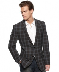 Preppy plaid gets a jolt of modern style with this slim-fit blazer from DKNY.