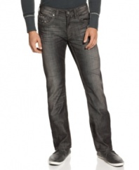 Switch out your classic pair of blues for the sleek straight leg and dusky grey wash of these modern jeans from Buffalo David Bitton.