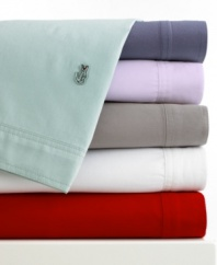 Ultimately soft in brushed cotton twill, this Lacoste sheet set is the perfect blend of sporty style and laid-back comfort. The signature Lacoste croc logo adds preppy flair to the flat sheet and pillowcases, now in a wide array of vivid hues. Croc logo coordinates with sheet color.
