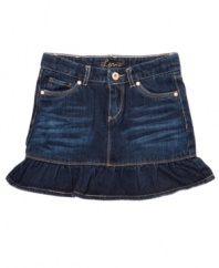 Beyond basic. This ruffle skirt from Levi's will kick your denim cutie's outfit up a notch.