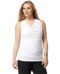 Highlighted by a draped neckline, Calvin Klein's sleeveless plus size top is an ideal layering piece for jackets and cardigans this season.