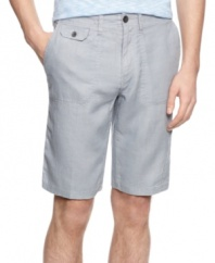 Sharpen your spring look with these linen shorts from Calvin Klein.