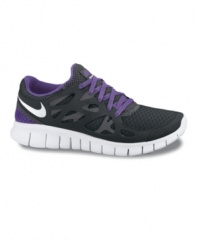 Feel free to get a great workout in Nike's Free Run+ 2 running sneakers. Made in lightweight mesh and environmentally-preferred rubber, they blend the flexible ease of barefoot running with the comfort and protection of athletic shoes.