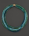 A vivid mix of turquoise, chrysoprase and apatite make up this eight-strand necklace from Lara Gold for LTC.