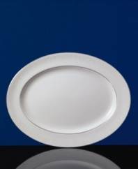 The heirloom-quality Sterling dinnerware and dishes pattern by Wedgwood is designed for formal entertaining, in pristine white bone china banded with polished platinum.