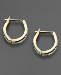 Give your favorite little gal a touch of modern style. A hinged closure gives these 14k gold hoop earrings an architectural shape.