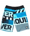 He'll be wading into the deep end of style in these board shorts from Quiksilver.