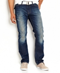 These heavily washed jeans from Nautica bring hip style that won't fade.