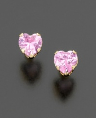 Simple and sweet: heart-shaped pink cubic zirconia stones set in polished 14k gold.